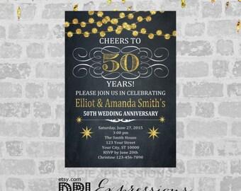 Golden Wedding Anniversary Invitation, Printable 50th Anniversary Invite, Chalkboard Invitation, Gold (Digital) Glitter Anniversary Invite