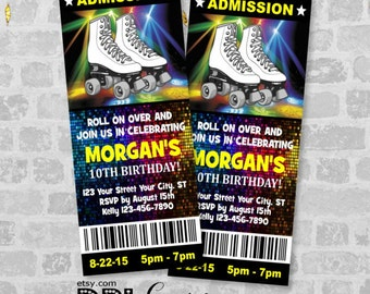 Rollerskates Ticket Invitations, Roller Skating Birthday Party Ticket Invitation, Custom Glow Skating Party Ticket Invites