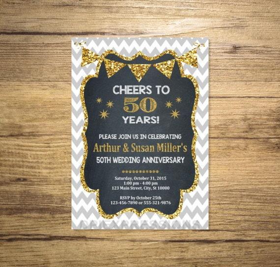 Golden Wedding Anniversary Invitation Chalkboard & Gold