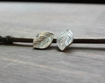 Handmade 925 Sterling Silver Leaf Stud Earrings, Natural Veined, Leaf Stud Earrings, Sterling Silver leaves Posts earrings, Leaf Textured
