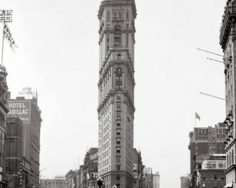 Times Square, 1908. Vintage Photo Digital Download. Black & White Photograph. Broadway, New York City, Architecture, 1900s, Historical.