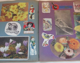 Adorable Vintage 1930s Scrapbook Filled with Scrap Pictures