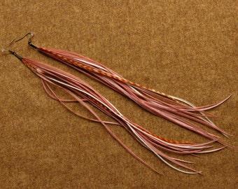 "Long Feather Earrings ""Flamingo"""