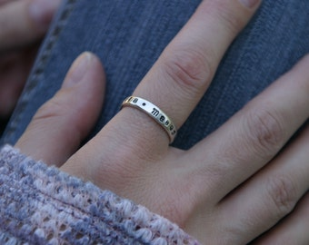 Sterling Silver Hand Stamped Stacking Ring, Custom Silver Ring with Names, Mothers Ring, Anniversary Ring,