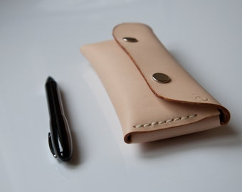 Personalized Leather Snap Pen Pouch