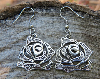 rose Jewelry, fall collection earrings, rose earrings, silver rose charm, flower earrings, silver earrings, dangle earrings, Christmas gift