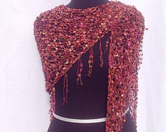 Dazzling Illusions Shawl or Scarf in Brown and Orange