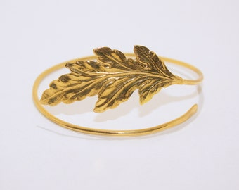 Upper arm cuff gold  bracelet with leaf made of brass
