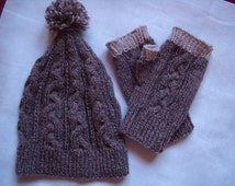 Fingerless mittens and slouchy, cables, knitted hand Warmers, Sport, ski man Beanie