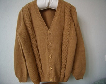 Man chamois, knitted vest, wool and acrylic, size L,