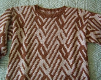 sweater woman-man-teen, EU 38/40, hand, Brown and beige jacquard knitting, Vintage
