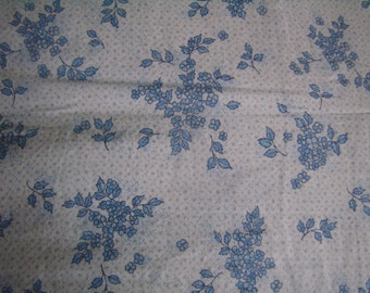 cotton duvet cover, blue flowers, double french bed, comforter Plaid, Vintage fabric