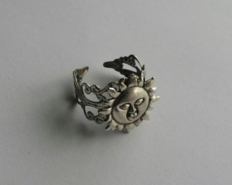 Celestial Sun Adjustable Filigree Ring, Celtic Sun Adjustable Ring, Sun God Ring, Sun Goddess Ring, Costume Jewelry, Filigree Statement Ring