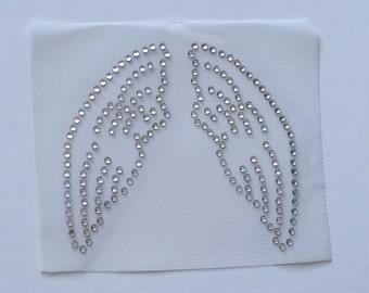 Angel Wings Bling Appliqué, Crystal Wings Rhinestone Iron on Transfer, Rhinestone Angel Wings, Baby Angel Wings, Baby Cupid, DIY Angel Wings