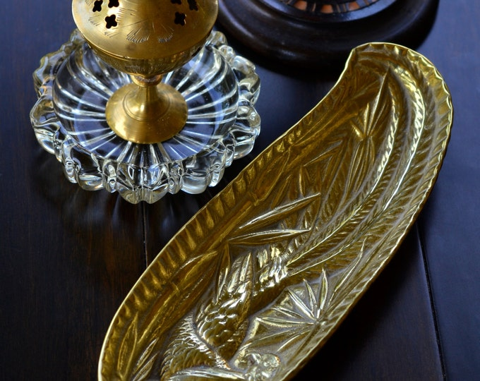 RARE PHEASANT DISH, vintage brass dish, offering dish, Boho chic, Hippie, Pheasant home decor