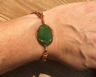 Green sea glass copper wire bracelet