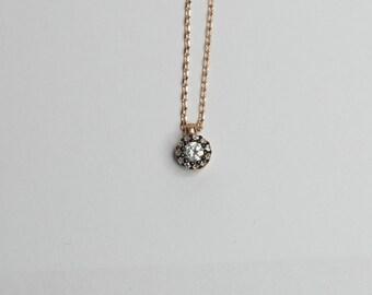 Kleine hanger ketting / Rose goud verguld op zilver / Clear Zirconia