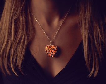 Orange Glowing Heart Necklace - Orange Glow in the Dark - Orange Necklace - Gifts for Her - Glowing Jewelry - Orange Jewelry - Orange Heart