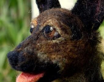 needle felted german shepherd, needle felted dog, miniature felt portrait, memorial portrait, needle felted pet portrait, felted animal,