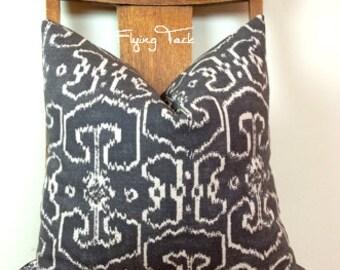 Charcoal Gray Ikat Pillow cover - Knife Edge finish -  Batik