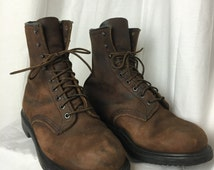 """Vintage Red Wing Boots Size 8 // Round Toe Insulated 8"""" Work Boots Red Wing Shoes Style 1210"""