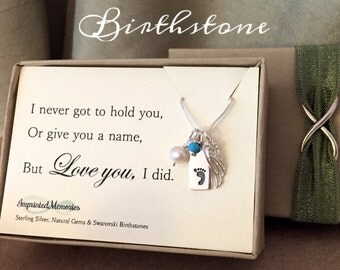 Miscarriage Necklace - TINY Sterling Silver Birthstone - Stillborn Necklace - Miscarriage Jewelry - Pregnancy Loss Gift In Memory of a baby
