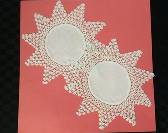 A Pair of White Hand Crochet Doylies with Linen Insert.