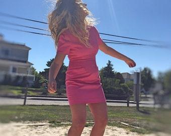 Isabel Ardee Vintage 80's Dress Size 8 Pink Mod Sheath Retro Dress