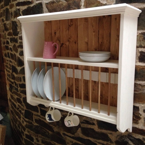 Wall Mounted Pine Kitchen Plate Rack And Shelf By