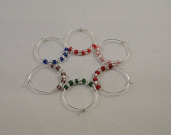 Set of 6 clear & coloured seed bead wine glass charms