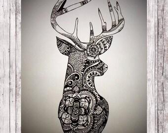 Zentangle Zen Animal Drawing {Deer art}