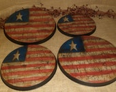 Stove Oven Burner Covers Hand Painted Crackle American Flag Americana Country Farmhouse Kitchen Home Decor