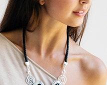 Statement necklace, black necklace, silver necklace, black glass stones necklace, black leather necklace, bib necklace, wedding necklace.