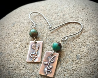 Fine Silver Earrings With Abstract Plant Design & African Turquoise Beads