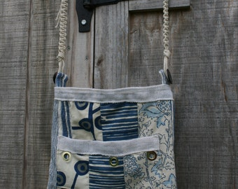 Blue and White Shoulder Bag
