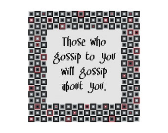 Cross Stitch Pattern, Funny Subversive Counted Cross Stitch Chart, Cowbell Cross Stitch, Instant Download PDF, Funny Gossip Quote Pattern