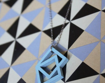 Wooden Hand Painted Squares Necklace