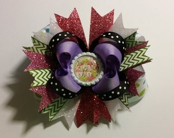 """5"""" Christmas Cookies themed Boutique Hair Bow with Finished Bottle Cap Center"""