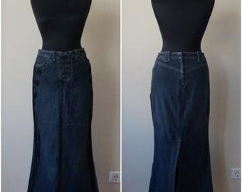 Flared long denim skirt, navy blue maxi pencil skirt, Art Nouveau style cord applique, corset style fastening, side pockets, vintage fashion