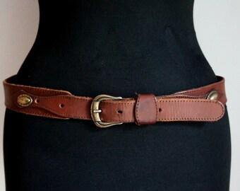 Country western brown leather belt, waist belt, brass golden buckle and applique, rustic belt, medium size, vintage fashion accessories