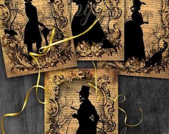 Halloween digital collage - Halloween Silhouette, Greeting Cards, Scrapbook,Journaling, Halloween digital images, Halloween digital art