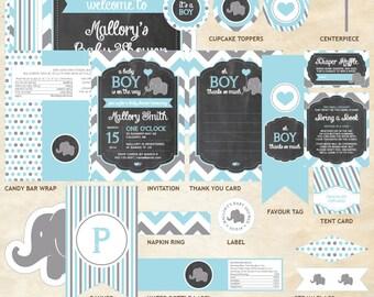 Elephant Baby Shower Decor Package, Elephant Decor Package, Elephant, Blue, Gray, Chevron, Balloon | Printable