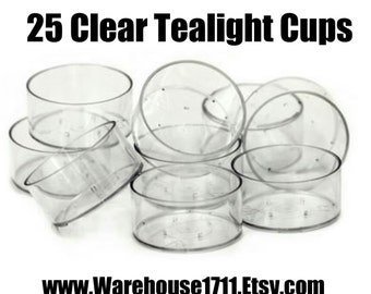 25 Clear Plastic Tealight Cups | Candle Making Supplies | Warehouse1711