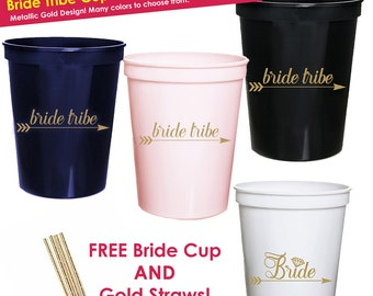 10 Bridal Shower Cups- Vegas Bachelorette Party Favors- Bridal Shower Favors- Bachelorette Cups-- Bride Tribe Cups- Gold Bridal Shower Decor