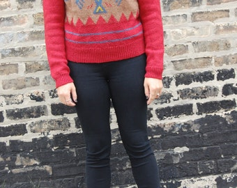 Red Vintage Retro Fitted Sweater