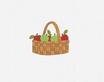 Apple Basket Machine Embroidery Design - 1 Size