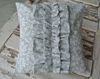 New Price!*** Ruffle Pillow- Grey Floral