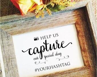 wedding hashtag sign capture (Lovely) (Frame NOT included)  hashtag wedding sign