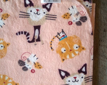 Extra Large Cat, Mouse and Cheese Flannel Receiving Blanket- Swaddle Blanket- Serged- Baby Blanket- Kitten- Nursery