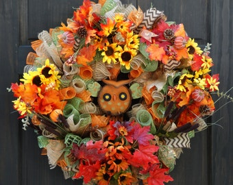 Fall Deco Mesh Wreath, Owl Wreath, Fall Mesh Wreath, Thanksgiving Wreath, Fall Wreath for Front Door, Wreath for Fall, Sunflower Wreath